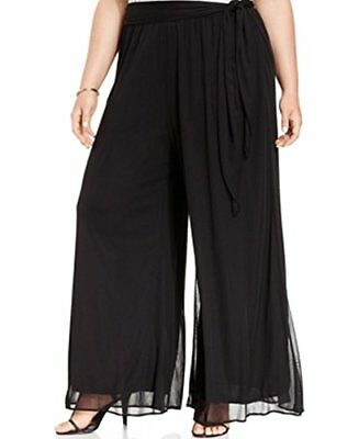 MSK Solid Women's Plus Elastic-Waist Palazzo Pants Black 3X