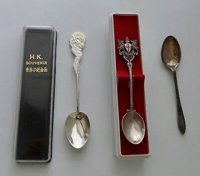 2 Antique Spoons And 1 Older - 2 Made In England 1 In Hong Kong