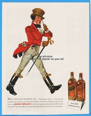 1949 Johnnie Walker Red Black Label Scotch Whiskey Scotland Favorite Son Art Ad