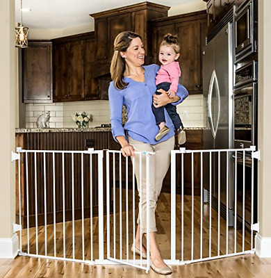 "Regalo Super Wide Metal Configurable Baby Gate with 4 Pack of Wall Mounts, 76"","