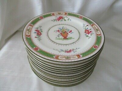 Coalport lot 12 bread side plates #7177 French Noble green band urn pink flowers