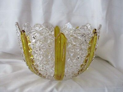 """EAPG Amberette Paneled Daisy & Button salad bowl c.1866 Duncan & Sons 8.5"""""""