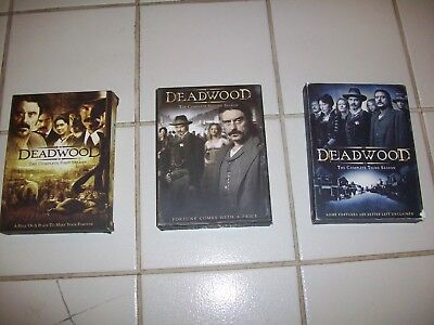 DEADWOOD DVD The Complete First, Second & Third Season Box Sets LOT Mint Cond!