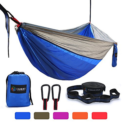 Camping Hammock Portable 2 Person Outdoor Double Lightweight Travel Hiking Blue