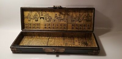Antique Chinese Hand Painted Document Pillow Box