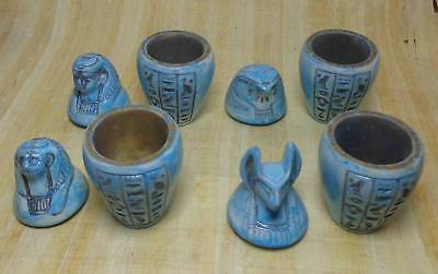 Canopic Jars Organs Storage faience ANCIENT EGYPT ANTIQUE Egyptian e