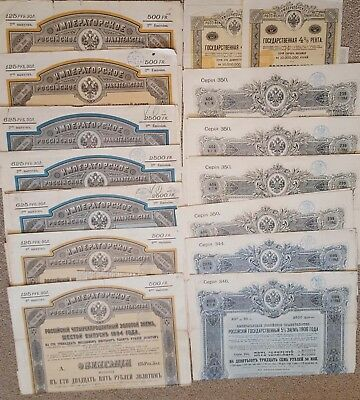 Collection of Russian State Bonds (15 pcs) - 1890, 1894, 1902, 1906