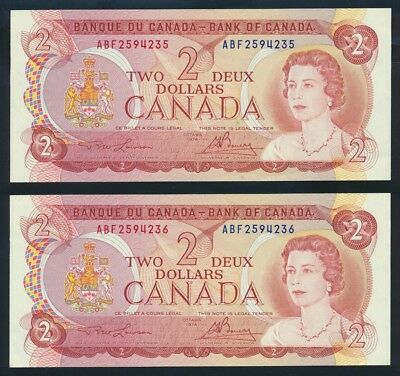 """Canada: 1974 $2 Sig. Lawson-Bouey """"CONSECUTIVE PAIR"""". P86a UNC Lt hand Cat $33+"""