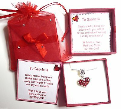 Red Heart Necklace Valentine Bride Bridesmaid Flower Girl Christmas in Gift box