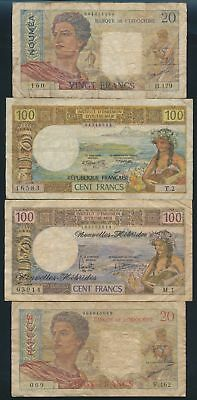 "French Pacific Colonies: 1958-75 20 to 100 Francs ""COLLN OF 5 DIFFERENT NOTES"""