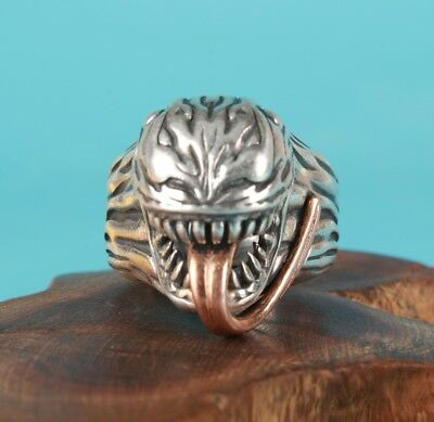 925 Silver Hand Carving Long Tongue Devil Statue Ring European American Gift