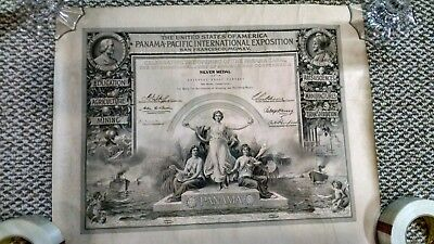 Rare Authentic Silver Medal Certificate Panama-Pacific International Exposition