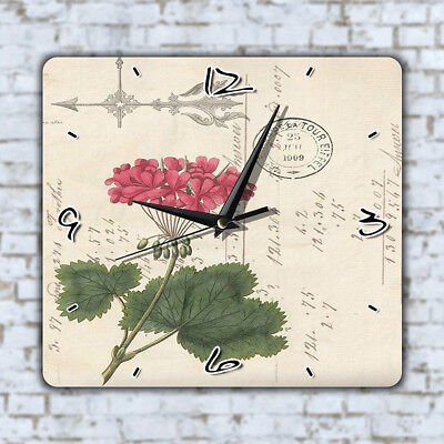 Vintage Flower Art Wall Clock Office Kitchen Home Deco Kids Room Bedroom Gift