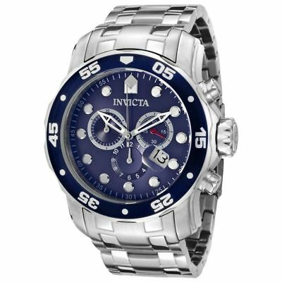 Brand New! Invicta 0070 Pro Diver Stainless Steel Chrono Scuba Blue Dial Watch