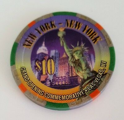 $10 Las Vegas New York New York Grand Opening Casino Chip - Near Mint