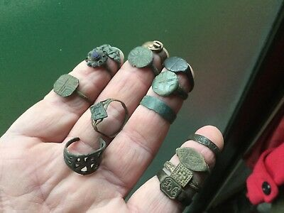 Large Lot Of Dug Up Rings Medieval Onwards