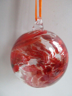 Glass Mouth Blown Spirit or Friendship Ball Shades of Red Swirls 8cm Boxed