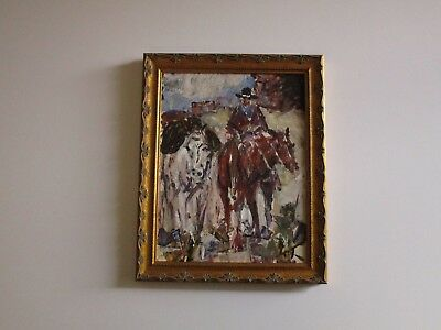 James Colt Cowboy Indian Painting Horse Desert Old West American Impressionist