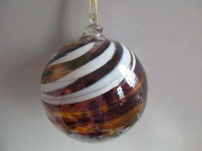Glass Mouth Blown Spirit or Friendship Ball Russet/White Swirls 8cm Boxed  Gift