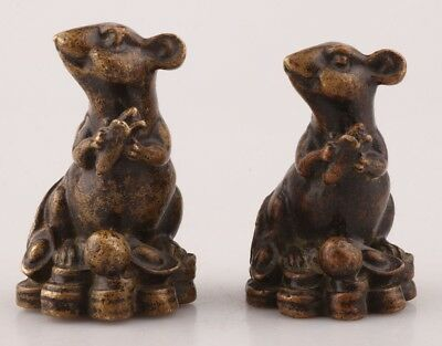 2 Chinese Rare Bronze Hand Carving Mouse Animal Statue Old Antique Collection