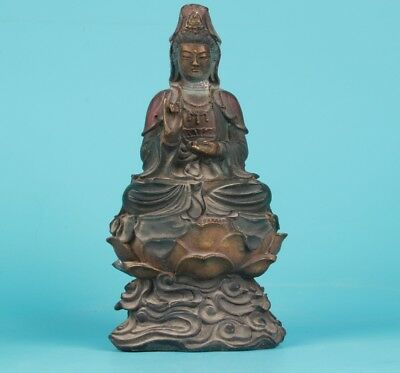 Bronze Hand Carving Antique Buddhist Rare Lotus Guanyin Statue Old Worship