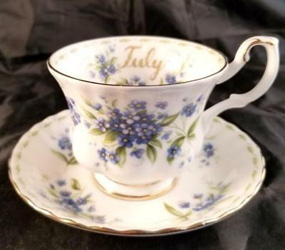 Royal Albert Bone China July Forget ME Not Flower of The Month Cup & Saucer Set