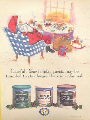 """""""Santa, Your holiday guest"""". 1995 Maxwell House Coffee Magazine Print Ad"""