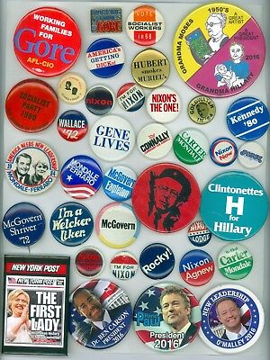 36 Vintage Presidential Political Campaign Pinback Buttons Nixon Gore Goldwater