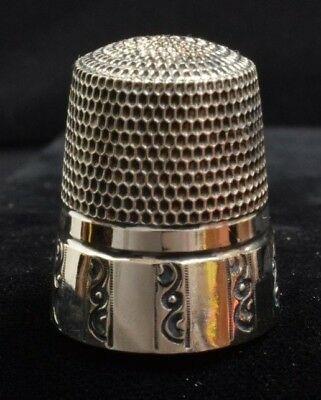Simons Brothers Sterling Silver Thimble Paneled Base Honeycomb Grid Size 11