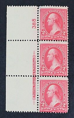 CKStamps: US Stamps Collection Scott#267 2c Strip Mint H OG Thin on Top