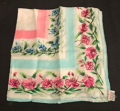 Vintage Susan Smart Hand Rolled 6.25 Momme Rayon& Silk Made in Japan Scarf