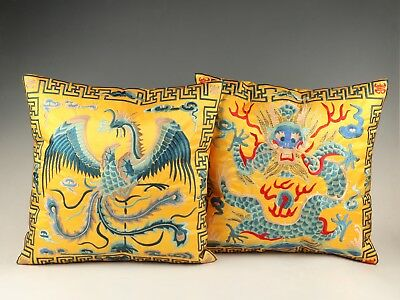2 Precious Satin Embroidery Dragon Phoenix Pillowcase Home Decoration Collection