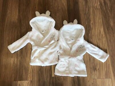 Twin Girls Disney Dressing Gowns 12-18 Months