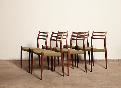 Set of Six Niels O Moller Model 78 Rosewood Dining Chairs, Denmark, 1960s