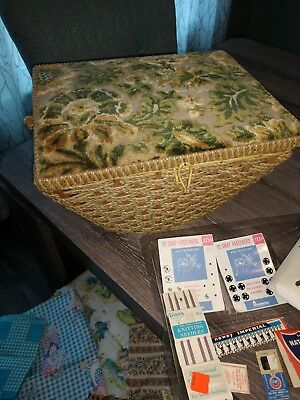 Vintage Sewing Basket - Woven case with floral tapestry top.
