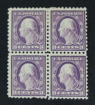 CKStamps: US Stamps Collection Scott#426 3c Block Mint 2NH 2H OG, 1 Thin