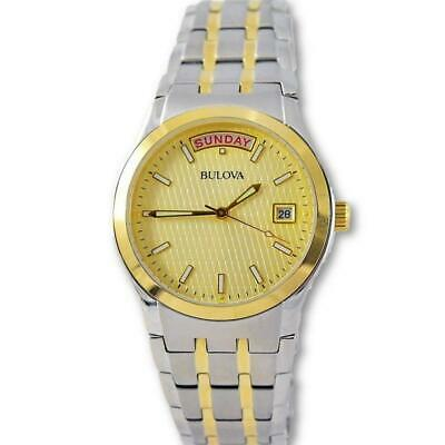 Bulova Men's Gold Two Tone Stainless Steel Day Date Watch 98C60
