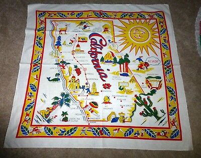 Vintage California Tablecloth Map Clean!