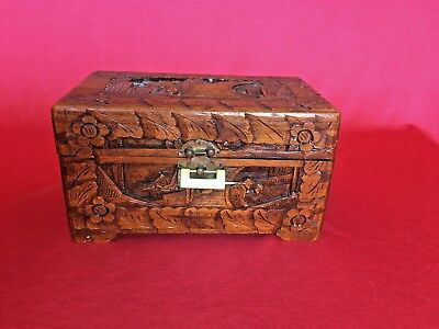 Vintage/Antique Hand Carved Locking Wooden Good Luck Chest/Box Made in Hong Kong