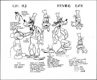 Disney Goofy and Mickey Moving Day production animation model sheet