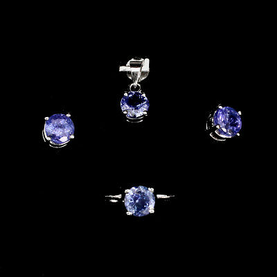 Round Cut 6mm Top Nice Blue Violet Tanzanite 925 Sterling Silver Sets