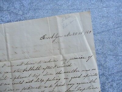 1849 Onboard Ship ( Wealthy people onboard,where they went),Brooklyn,N.Y.,Letter