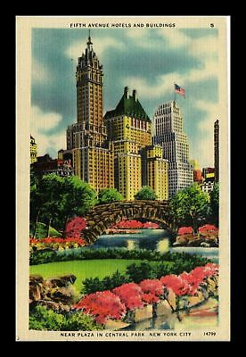 Dr Jim Stamps Us Fifth Avenue Hotels Building New York City Linen Postcard