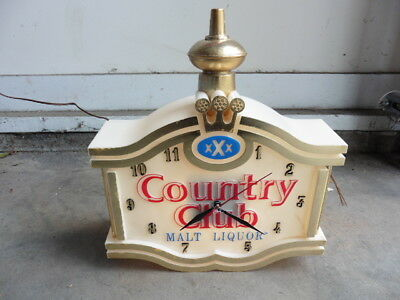 1960s Country Club Malt Liquor Lighted Clock Small Store Advertising Sign Works