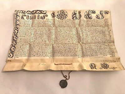 RARE Intact Vellum Papal Bull Manuscript of Pope Clement XIII Lead Seal 1768