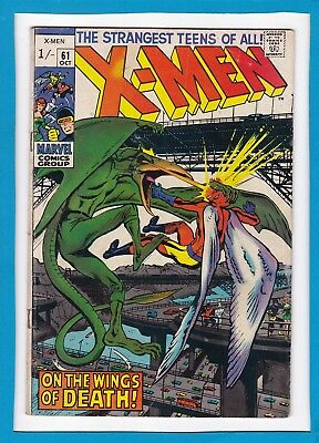 """X-Men #61_October 1969_Very Good+_Sauron_""""on The Wings Of Death""""_Neal Adams_Uk!"""