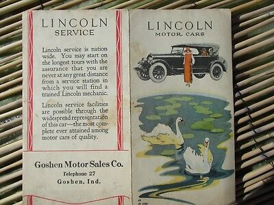 1923 Lincoln Motor Car GRAPHIC,COLORFUL ADVERTISING Goshen,Indiana Document!