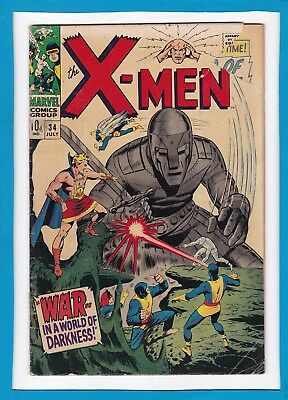 """X-Men #34_July 1967_Good/very Good_""""war In A World Of Darkness""""_Silver Age Uk!"""