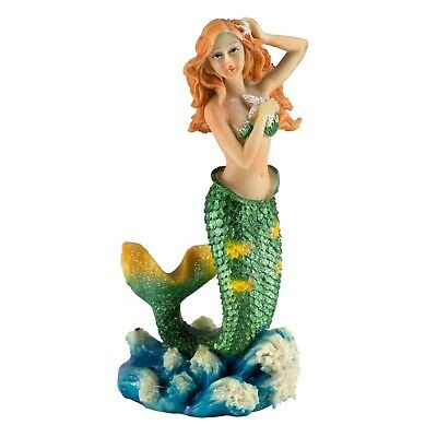 """Green Mermaid Figurine Holding Starfish 5"""" High Sparkly Resin New In Box!"""