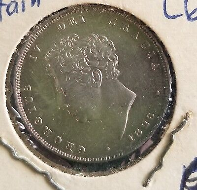 Sharp  1826   King  George  IV Sterling  Silver  Shilling  British Coin